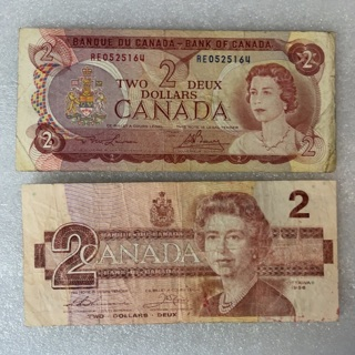 $2 Canadian notes, 1986 and 1974