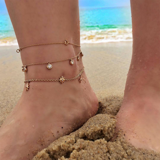 3Pcs Bohemian Retro Stars Sun Round Crystal Pendant Multilayer Chain Gold Beach Anklet Set