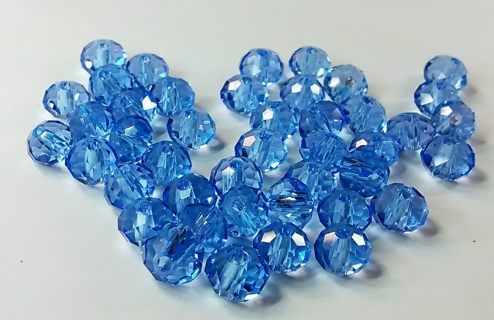 30 PCS. ~ 4 X 6 MM LIGHT BLUE RONDELLE CRYSTAL LOOSE BEADS