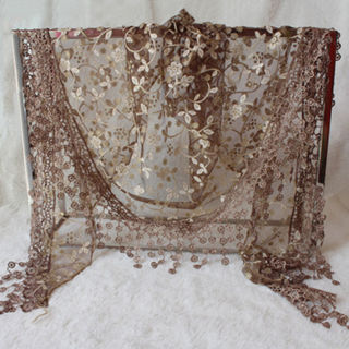 Women Lace Sheer Floral Print Triangle Veil Church Mantilla Scarf Shawl Tassel