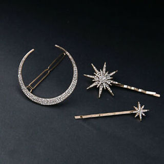 Star Moon Crystal For Women Girls Hair Pins Hair Accessories Jewelry