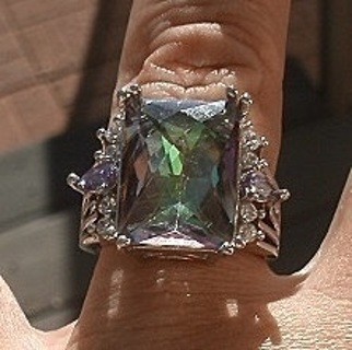 SENSATIONAL STERLING SILVER SPARKLING RAINBOW TOPAZ AND AMETHYST RING SZ 10 FREE US SHIP! FREE GIFT!