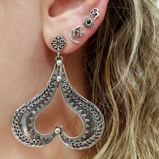 4 Pcs/set Lady Personality Punk Big Heart Moon Star Crystal Pendant Earrings Bohemian Retro Wedding