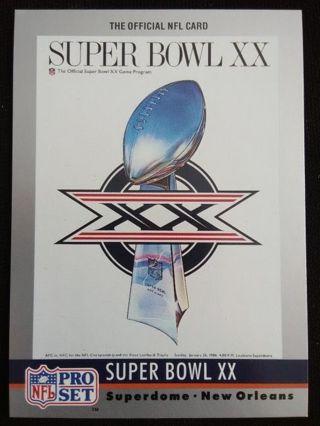 """1990 NFL Pro Set """"Super Bowl XX"""" Theme Art Football Card #20"""