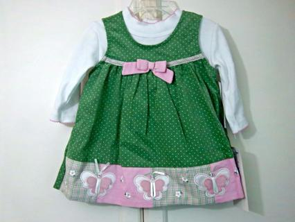 NWT Rare Too! Girls 2pc Size 24 MO Green Polka Dot Cord with Butterflies Jumper