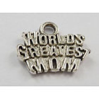 Worlds Greatest mom silver charm mothers day gift