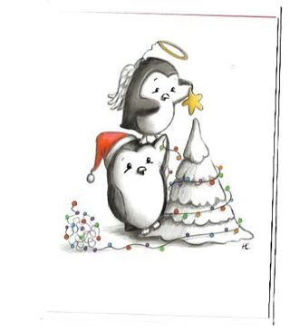 Christmas Card Unused With Envelope Penguins