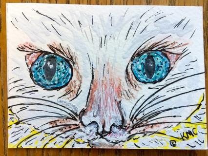"Original Watercolor ACEO Art Trading Card ""Blue Eyes Eyes White Cat"" by Award Winning Artist"
