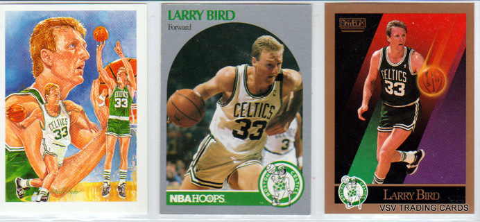 3x LARRY BIRD Cards - 1990 NBA #358 - 1990 NBA #39 - 1990 Skybox #14, Boston Celtics