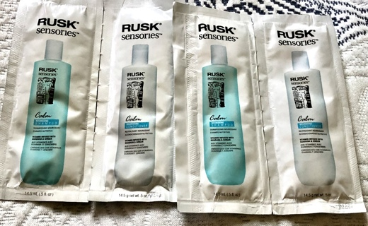 """2 Each: Br New """"Rusk"""" .5 fl oz Calming Shampoo and Conditioner Samples. Winner Gets 4"""