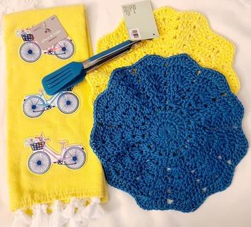 """Crochet 2 - 9"""" Dish Cloth/Wash Cloths 1 DISH TOWEL***1 PAIR OFTONGS"""