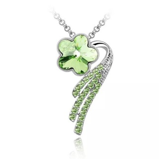 Green Crystal Rhinestone Shooting Star Necklace