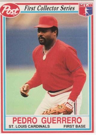 Free 1990 Post Collector Series 22 Pedro Guerrero St Louis
