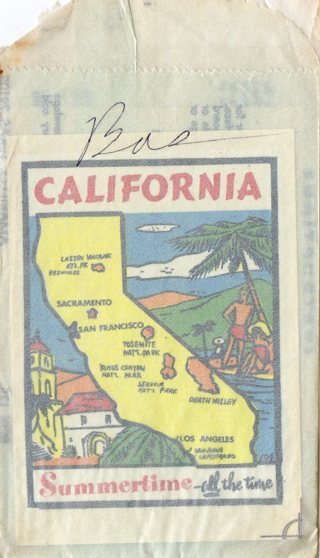 Vintage 1950's Impko Sticker/Decal: California