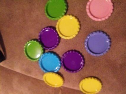 10 colorful bottle caps
