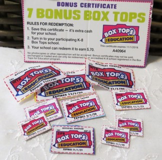 Box Tops for Education b.t.f.e. 12