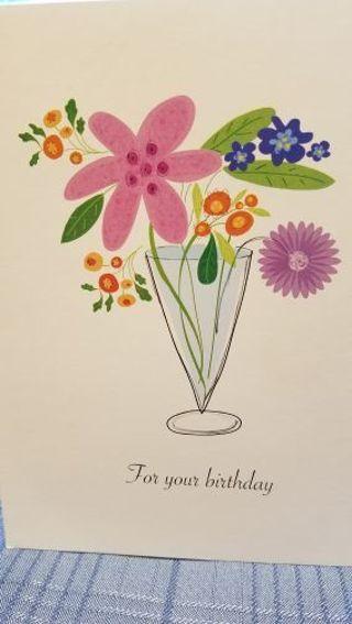 BIRTHDAY CARD FLOWERS IN VASE, CARD W/ENVELOPE