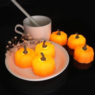 LED Pumpkin Tea Lights (12 Pack)