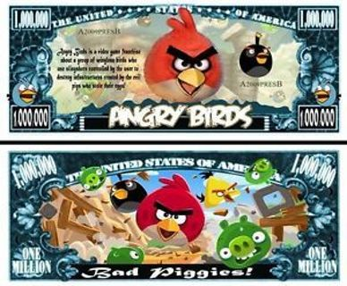 ☛Angry Birds Collectible Million $ Bill -NEW -Free Ship