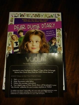 This auction is for a vudu code for dear dumb diaries