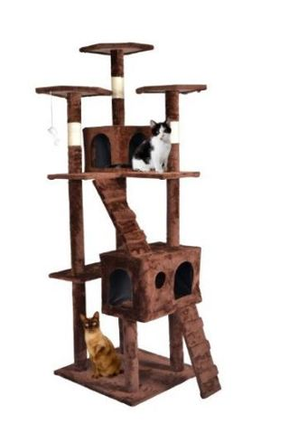 1 NEW Cat Tree Condo Furniture, Surface Material Faux Fur, 73-Inch, Brown
