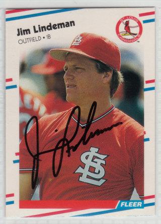 1988 Fleer Jim Lindeman autograph card