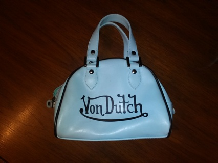 Free Small Baby Blue Von Dutch Bowler Bag With Bonus Makeupbag Change Purse