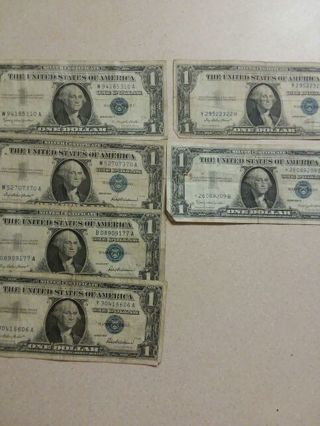 6 circulated silver certificates one star note