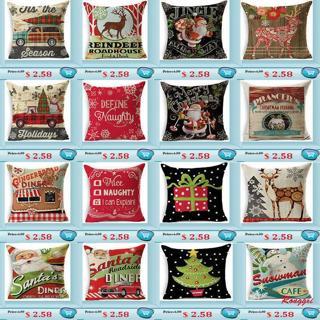 """18"""" Christmas Cotton Linen Pillow Cushion Throw Case Cover Home Decor XMAS Gifts"""