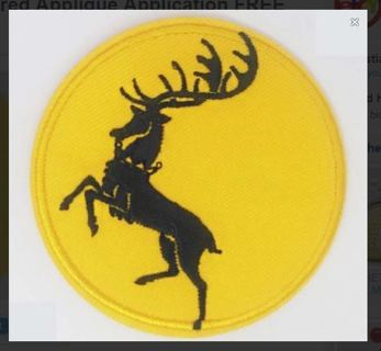NEW GAME OF THRONES PATCH Iron On House Baratheon Embroidered Applique Application FREE SHIPPING