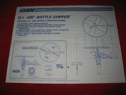 1991 G.I. Joe ARAH Action Figure- Battle Copter: Instruction Booklet- foldout insert