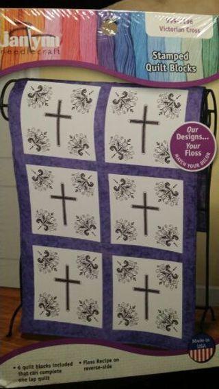 Cross stitch stamped quilt blocks