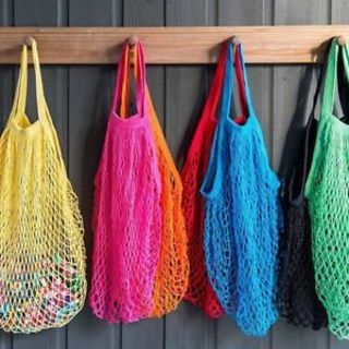 String Storage Bag Reusable Tote Grocery Woven Mesh Bag Shopping Bag Cotton