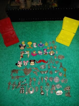 ❤✨❤60+ BRAND NEW ASSORTED CHARMS IN LEGO CONTAINERS❤✨❤WINNER GETS ALL!