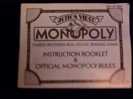 Free Nes Nintendo Monopoly Instruction Booklet Official Rules