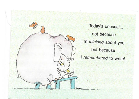 Cute Note Card Unused With Envelope Elephant