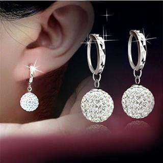 Women 18K White Gold Filled Crystal Rhinestone Hoop Earrings Wedding Jewelry New