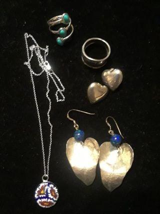 》》 Vintage Silver Jewelry Lot 《《