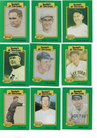 (9) 1987 Baseballs All Time Greats Cards