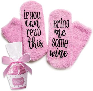 """If You Can Read This Bring Me Some Wine"" Funny Socks Cupcake Winter Ladies Gift"