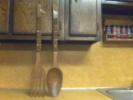 Free: BIG WOODEN FORK & SPOON! I MEAN BIG!! HAND CARVED IN ...