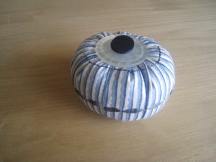 Blue and White striped handmade Pincushion