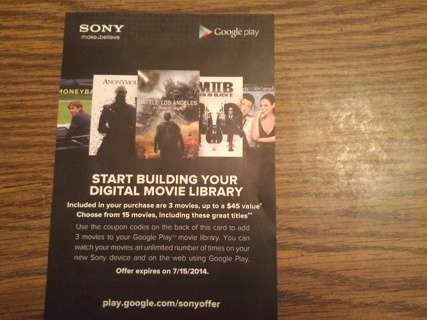 Free: (Sony Movie)Start Building Your Digital Movie Library