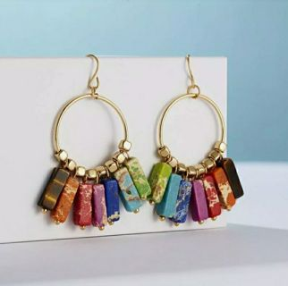 Chakra Hook Earrings Women Natural Stone Tube Beads Dangle Drop Earrings Jewelry