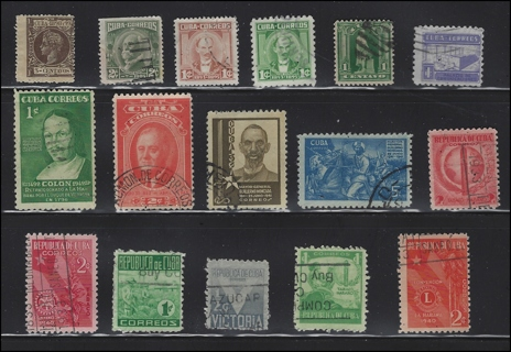 Vintage Cuba stamps (16), U/F-VF