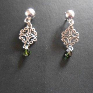 925 sterling silver green tourmaline scroll stud earrings