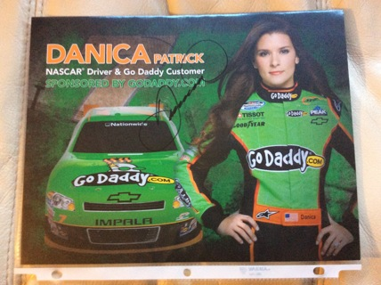 "AUTOGRAPHED DANICA PATRICK 8-1/2"" x 11"" Nascar Hero Photo Card GO DADDY RACING AUTO"
