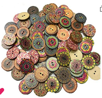200 PCS Wood Buttons, Vintage Wood Buttons with 2 Holes
