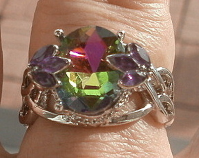 SENSATIONAL STERLING SILVER SPARKLING RAINBOW TOPAZ AND AMETHYST RING SZ 9 FREE US SHIP! FREE GIFT