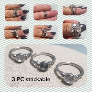 Sz. 6.5 Silver Tone 3 PC Stackable Rings
